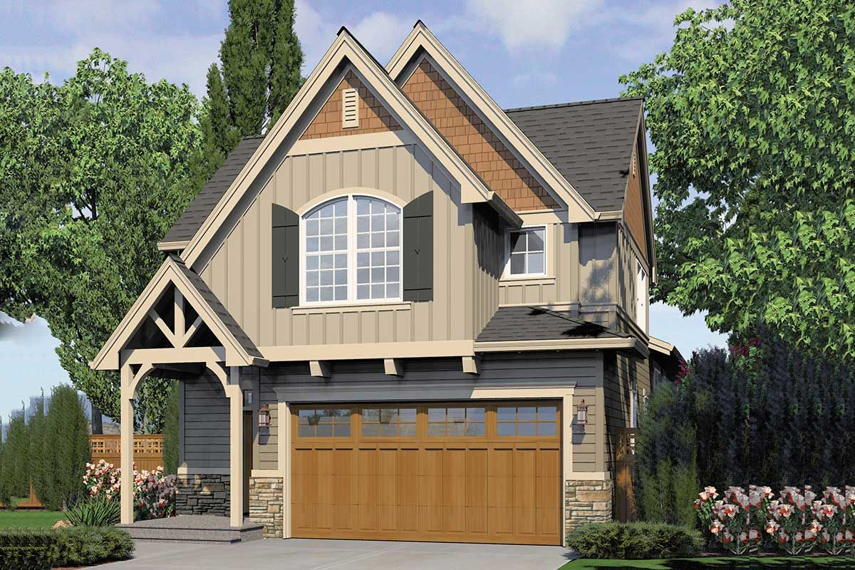 Plan 69412am Traditional Home Plan With Two Master Bedrooms Craftsman Style House Plans Traditional House Plans Narrow Lot House Plans