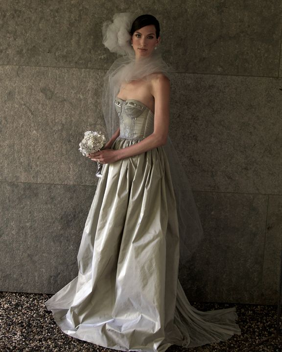 Petra Metallic Pewter Lace And Taffeta Wedding Gown Brooch Bouquet By Missy Fine