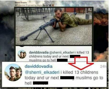an Israeli soldier is being proud for killing 13 children ..... Israel terrorist #gaza