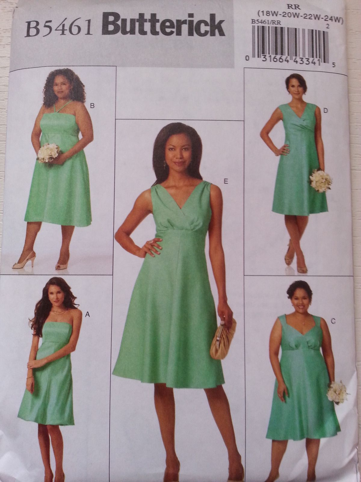 Butterick B5461 Misses\' Lined Dress with Varing Necklines Size RR ...