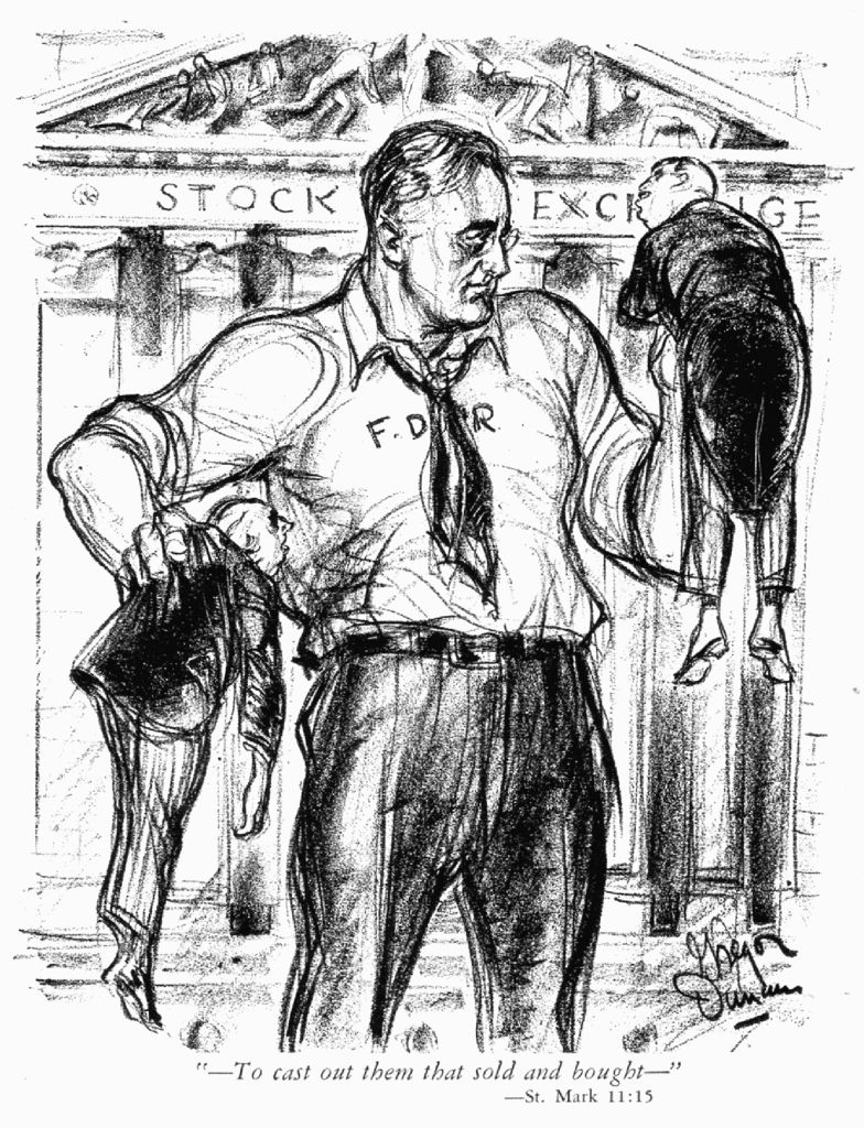 Political cartoon showing FDR as a force | Great Depression | Pinterest