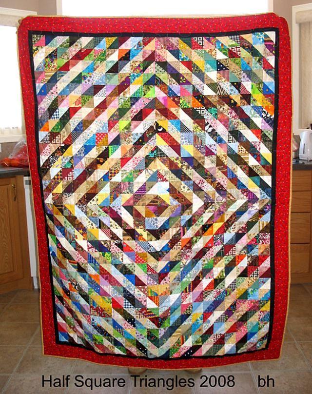 Half Square Triangles Quilt.