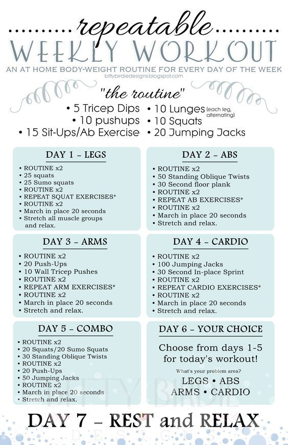 Weekly Workout Plan  Fitness    Weekly Workout Plans