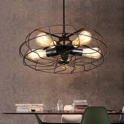 Retro 5 light hanging fan shape ceiling fixture in black finish fashion style industrial lighting