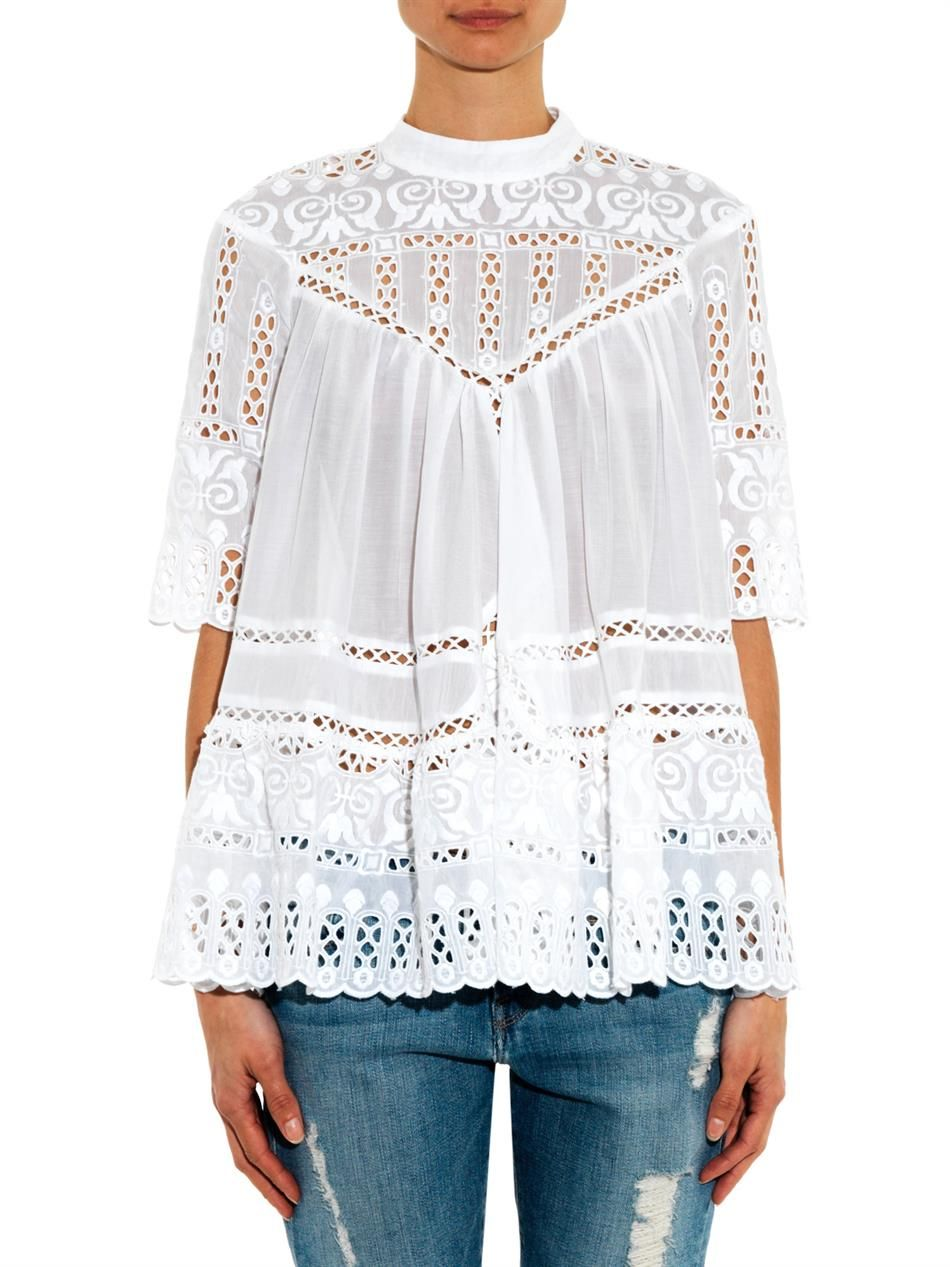 Zimmermann Embroidered Chemisier Porcelain Smock TopClothes 80vnwmN