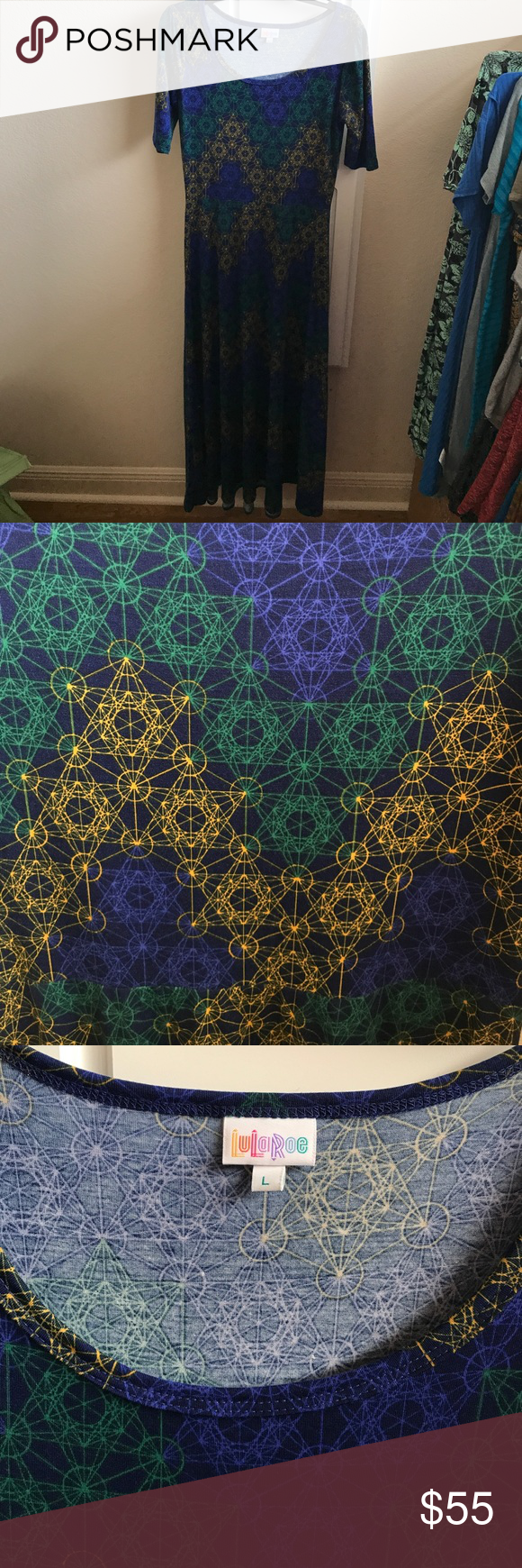 Large LuLaRoe Ana Worn Once for Church Beautiful, Vibrant Ana. EUC, no signs of wear. I wore it once to church for about an hour and a half. Didn't wear it again. Smoke and Pet Free Home. Blue, green, yellow. LuLaRoe Dresses Maxi