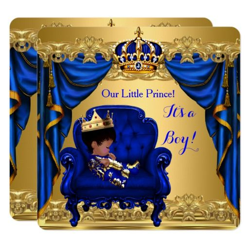baby shower boy little prince royal blue golden card | boys, baby, Baby shower invitations