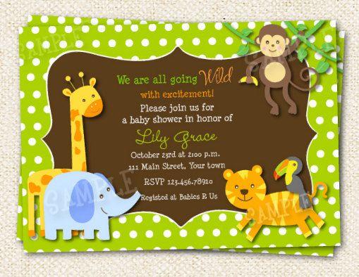 Safari Jungle Animals Baby Shower Invitations Baby Party Ideas