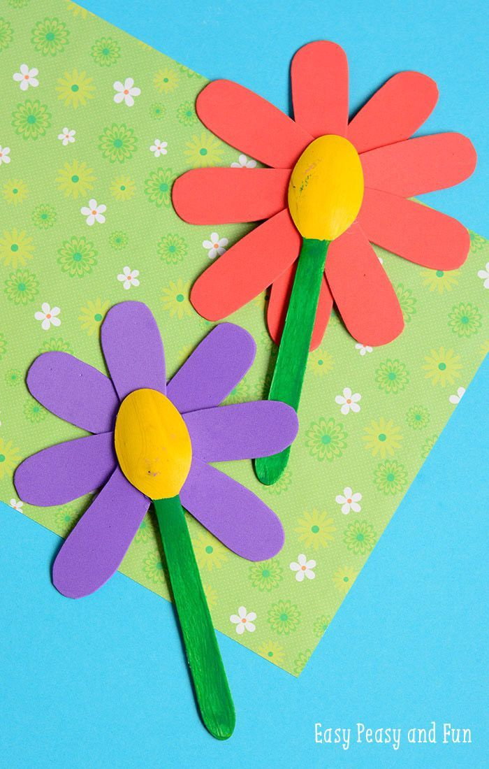 Easy Summer Craft Ideas For Kids Part - 22: Wooden Spoon Flower Craft