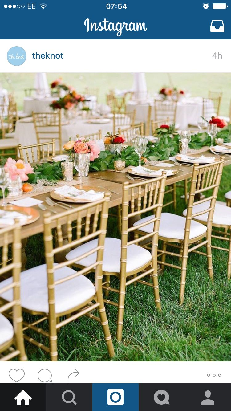 Golden chairs table set up