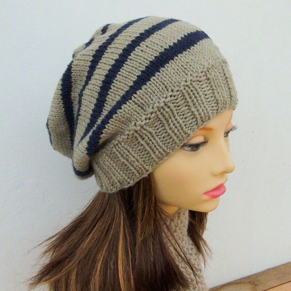 KNITTING PATTERN/ CAMPUS/ Striped Slouchy Beanie Pattern/Easy ...
