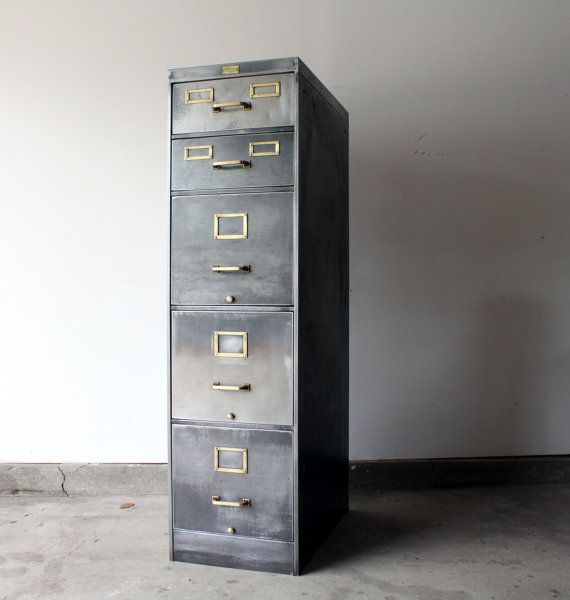 Vintage Industrial 5 Drawer Steel Filing Cabinet Stripped Down To Bare Metal And Sealed Brass Hard Filing Cabinet Vintage Filing Cabinet Metal Filing Cabinet