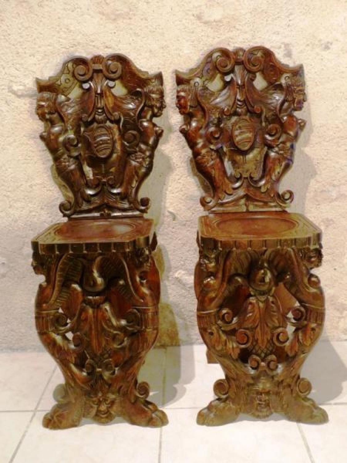 Antique For Sale Pair Of Sgabello Italian Renaissance Style Chair Seat  Furniture