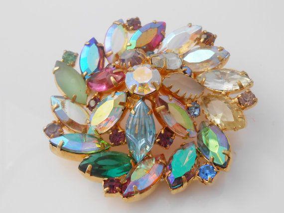 Rhinestone Glass Pinwheel Brooch Multi Color by Libbysmomsvintage