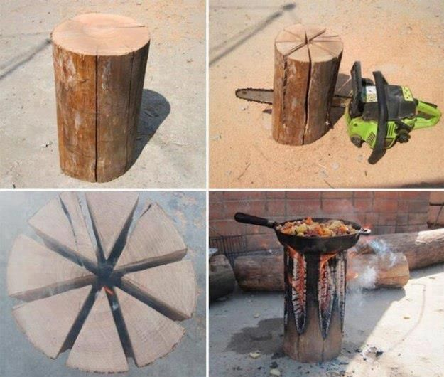turn a log into a stove. Good to know for camping!