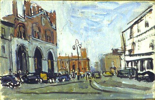 """Carlo Dalla Zorza (Italian, 1903-1977) - """"Piazza Cavalli a Piacenza"""", 1955 - Galleria Ricci Oddi, Piacenza (Italy)"""