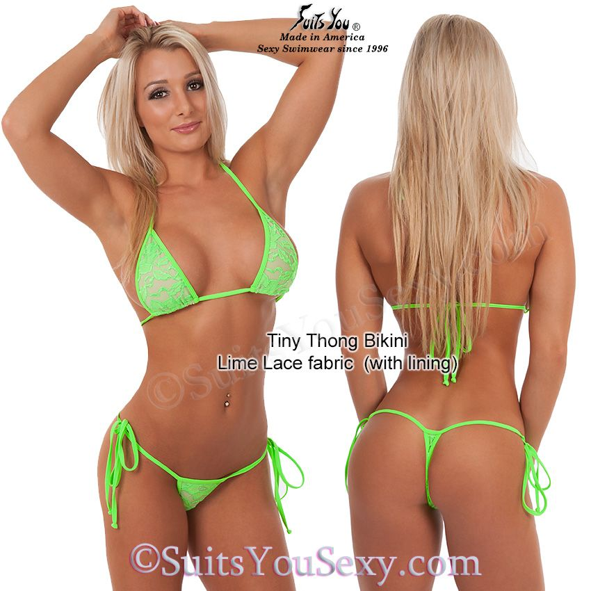 Lace Thong Bikini With Nude Lining Sexy Tiny Thong Bottom Tiny Top Lime Lace With Tie Side Bottom