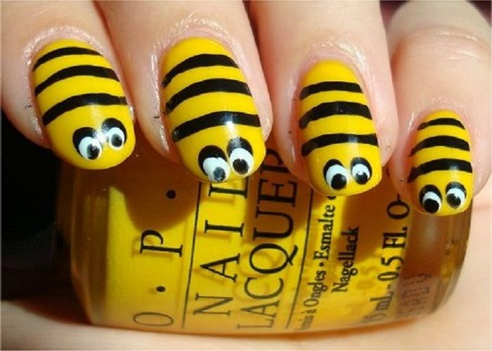 Cool Nail Design Ideas: Cool Yellow Black Bee Acrylic Nail Designs ...