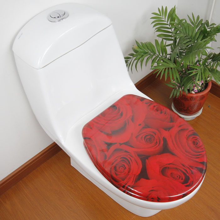 red rose bathroom accessories safety resin toilet seat nice decoration best gift