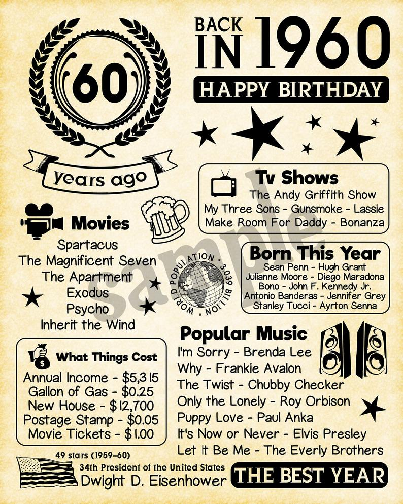1960 Fun Facts 1960 60th Birthday For Husband Gift For Etsy 60th Birthday Ideas For Mom 60th Birthday Ideas For Dad 60th Birthday Party