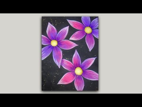 Simple purple and pink flowers acrylic painting on a black for Acrylic painting on black background
