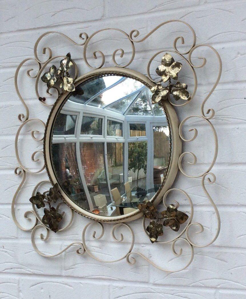 Vintage convex mirror wrought iron bullseye cream gold 1960s ivy ...