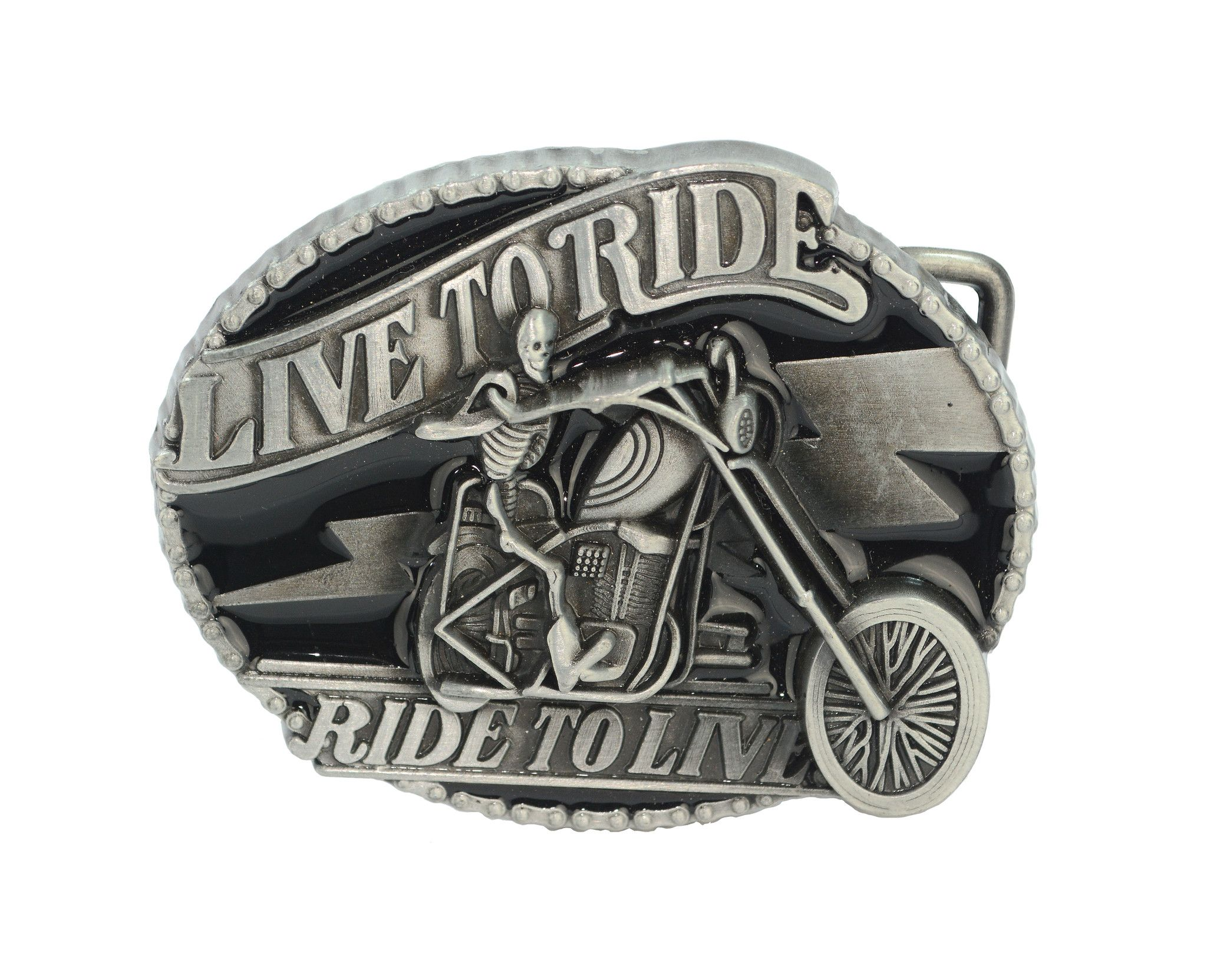 Live to Ride Belt Buckle - Silver