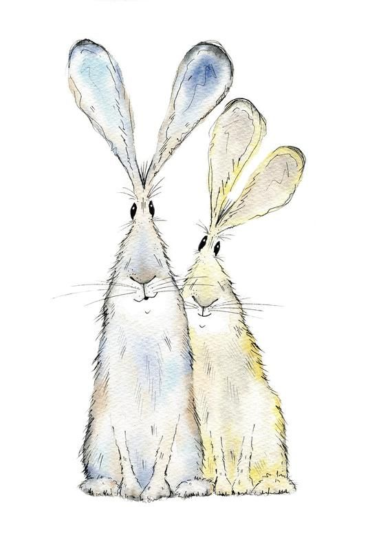 Hare print two hares print limited edition print  