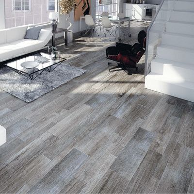 EliteTile Savona 8  x 26  Porcelain Wood Tile in Gris