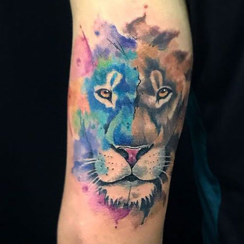 3337765f8 Gorgeous Watercolor Tattoo on Arm - Best Lion Tattoos For Men: Cool Lion Tattoo  Designs and Ideas For Guys #tattoos #tattoosforguys #tattoosformen ...