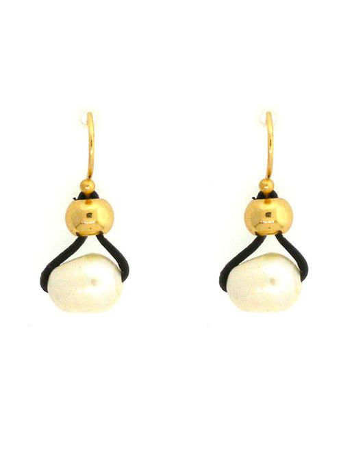 Pearl and Black Cord Earrings Dressy meets casual :)  #FreeShipping #Earrings #GiftIdea