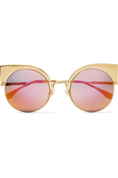 6c8c7575504 FENDI Eyeshine cat-eye gold-tone mirrored sunglasses 595 Gold-tone metal  100% UV protection Come in a designer-stamped leather soft case Made in  Italy