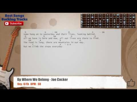 Up Where We Belong Joe Cocker Guitar Backing Track With Chords And