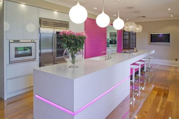 Purple and Pink Kitchen Colors Adding Retro Vibe to Modern Kitchen