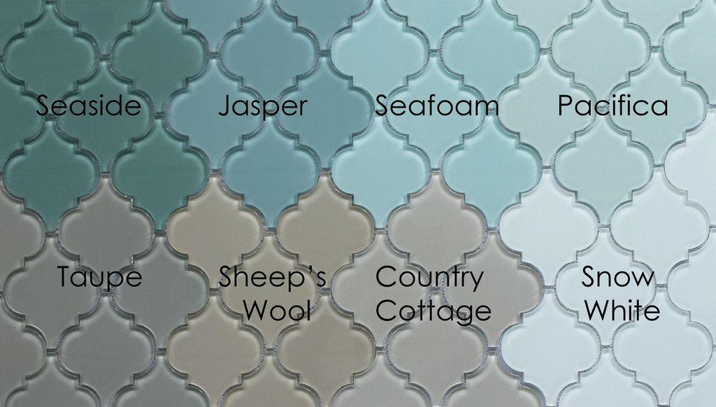 Jasper Arabesque Glass Mosaic Tiles snow white