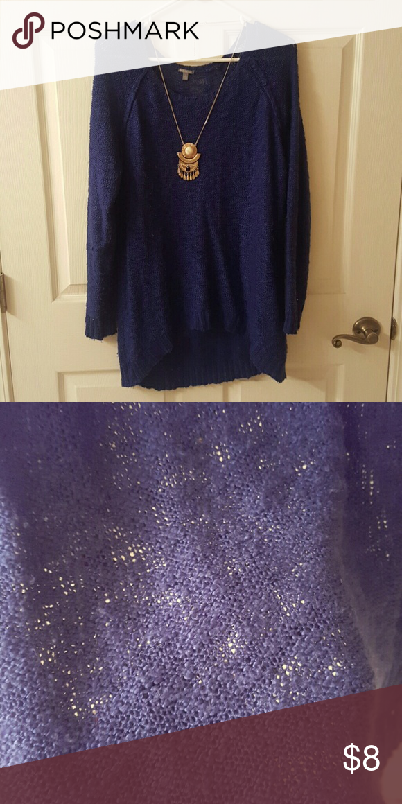 Sheer Sweater Royal blue sheer sweater for pairing with cami. Super soft and comfy! No rips or stains, smoke free home. ** Necklace not included** Charlotte Russe Sweaters
