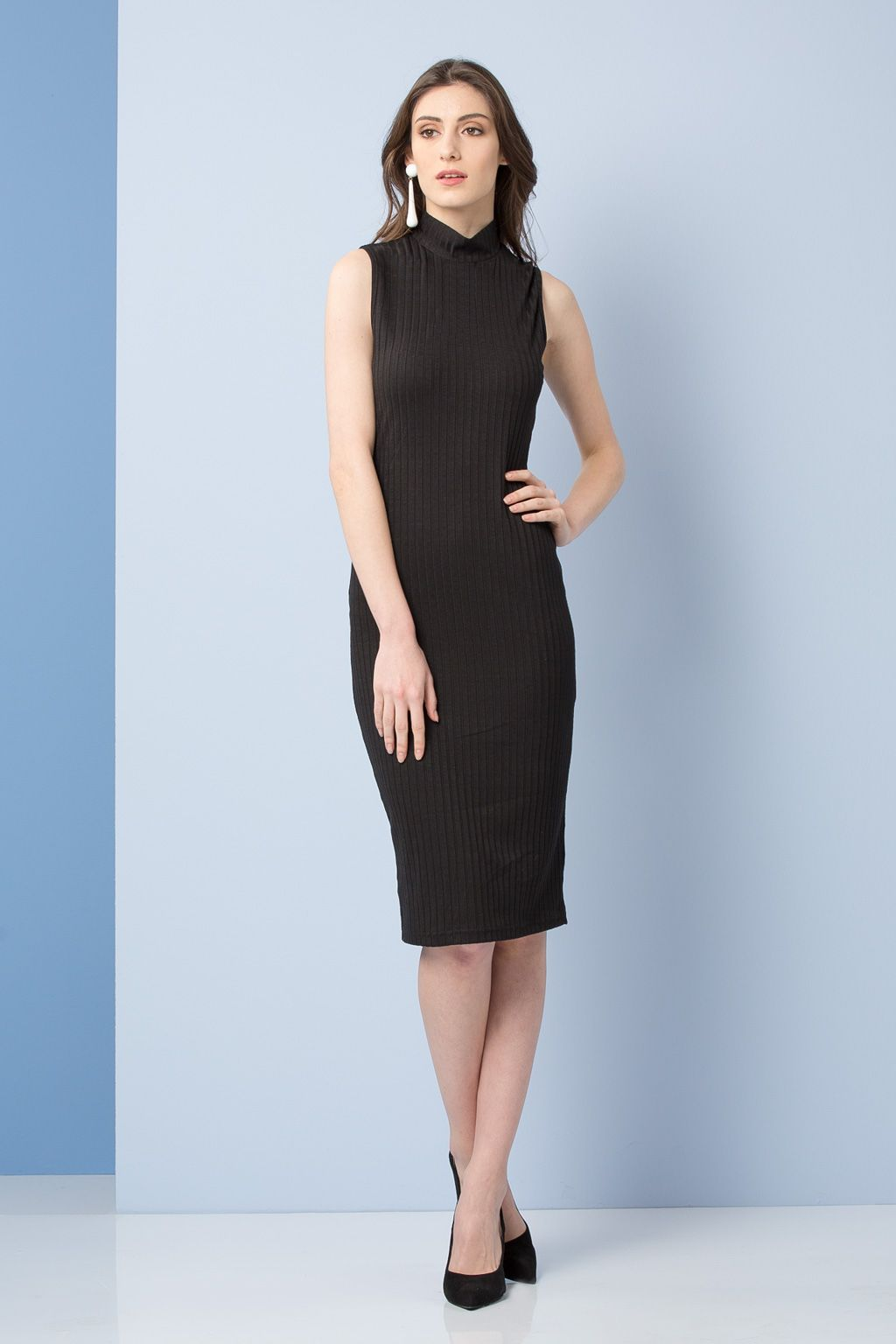 22b36928e793 THE LINE PROJECT Black Shirt Collared Crepe Dress   ΦΟΡΕΜΑΤΑ