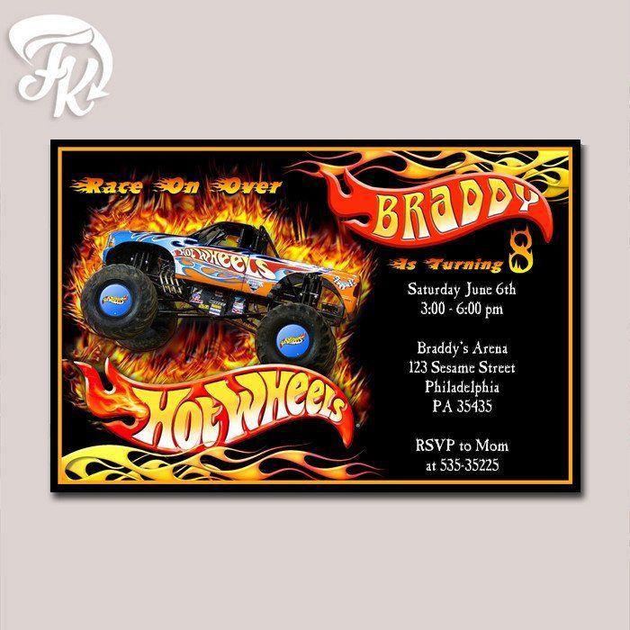 Hot Wheels Race Birthday Party Card Digital Invitation Kid