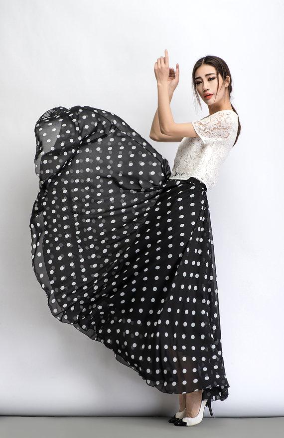 5dca98769 Chiffon skirt, Polka dot skirt, maxi skirt, long polka dot skirt ...