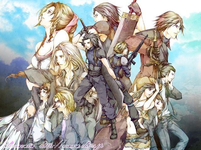 Aerith Gainsborough, Angeal Hewley, Genesis Raphsados, Sephiroth, Zack Fair, Cloud Strife, Rude, Reno, Lazard, Tifa Lockhart, Cissnei, and Tseng. Fan art. Final Fantasy VII: Crisis Core.