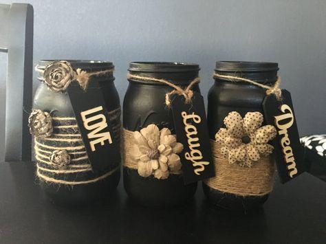 mason jar home decor, mason jar decoration, hand painted, shabby