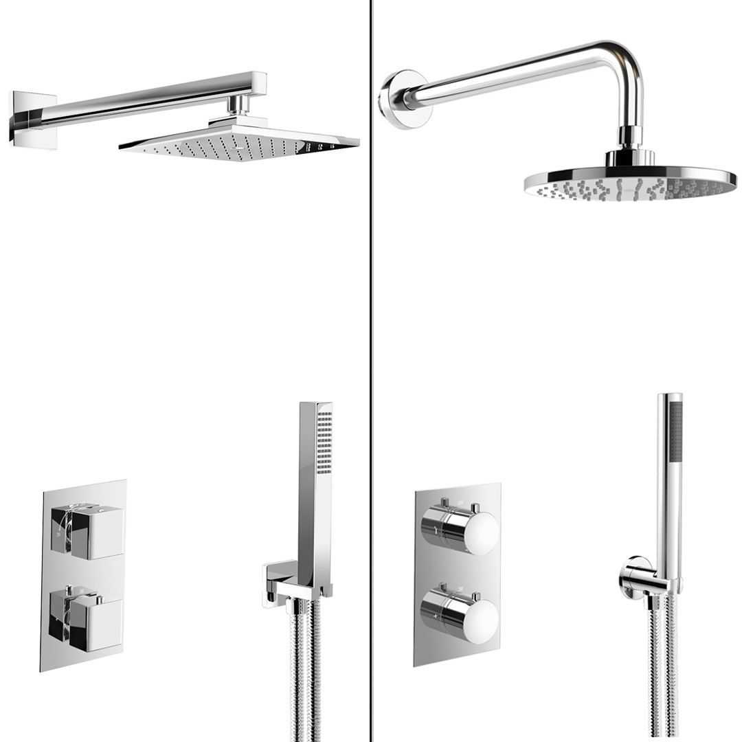 Modern Square or Round Mixer Shower Head Chrome Thermostatic ...