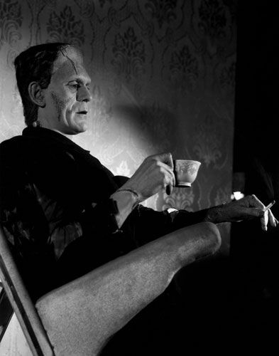 Boris Karloff drinking tea