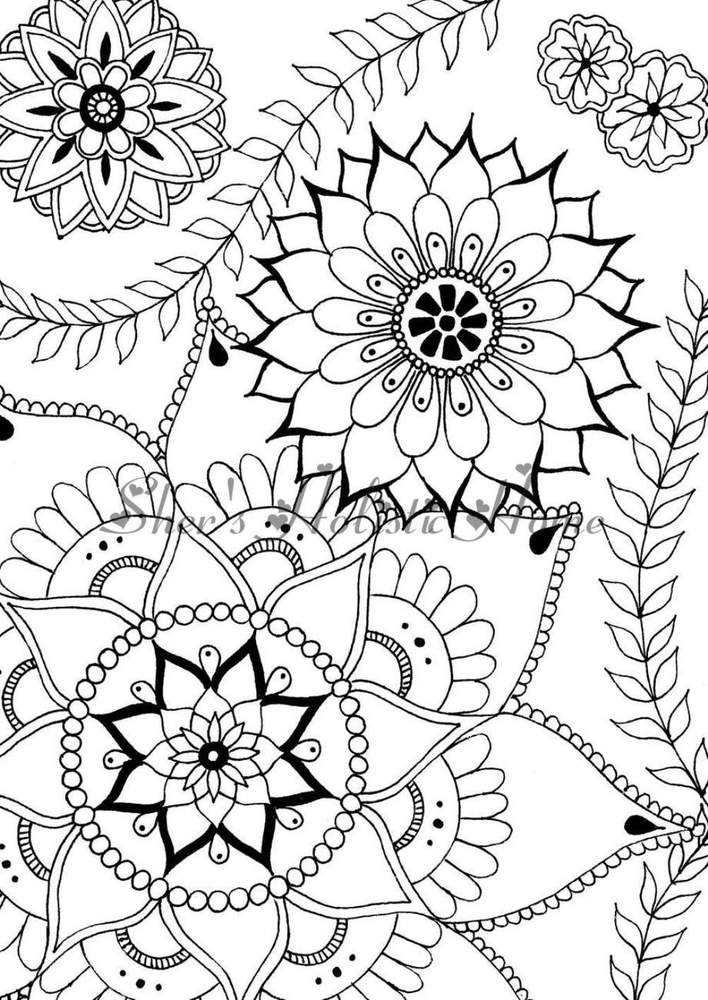Flower Coloring Page Mandala Coloring Page Flower Mandala Etsy Mandala Coloring Pages Mandala Coloring Flower Coloring Pages