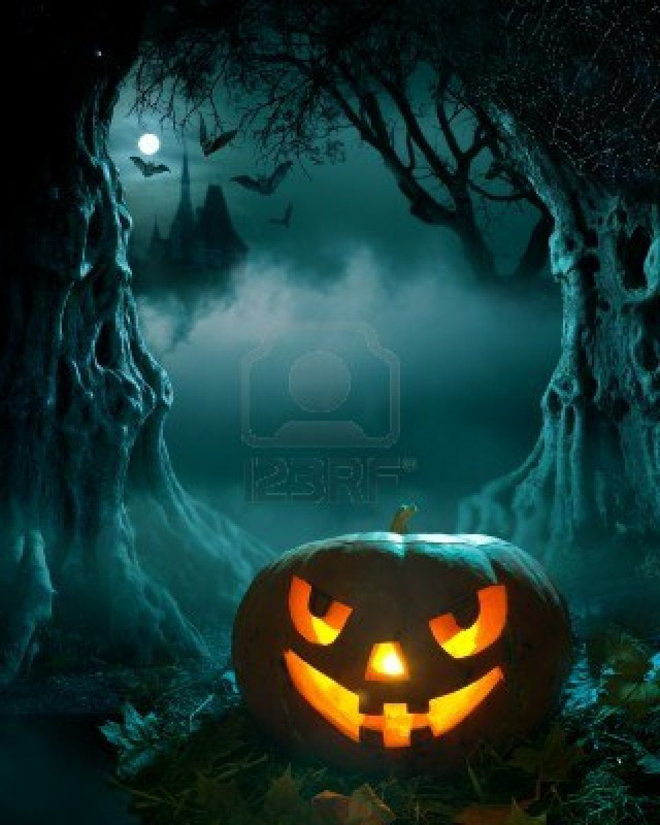 Halloween design, glowing pumpkin in a dark scary forest