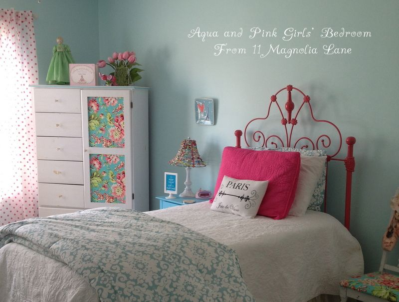 Girls Bedroom Blue And Pink my daughter's room--updated {yes, again!} in aqua blue, brown, and