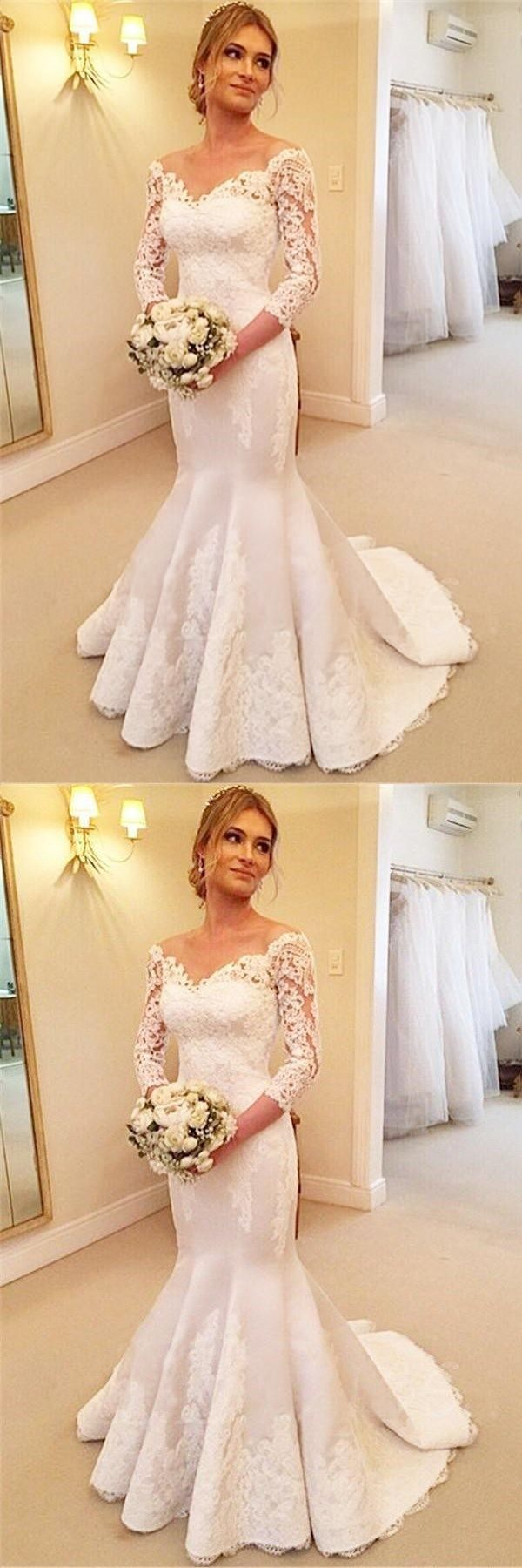 White satin vneck sleeves buttons mermaid wedding dress with
