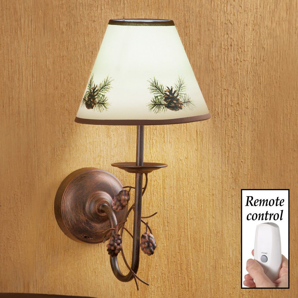 No Wiring Wall Lamp Electrical Diagram Polarized Rustic Pinecone Cabin Decor Needed Remote Rh Pinterest Com 2 Circuit Socket
