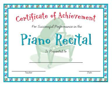 Piano recital certificate in a casual style recital pianos and recital certificates yadclub Choice Image