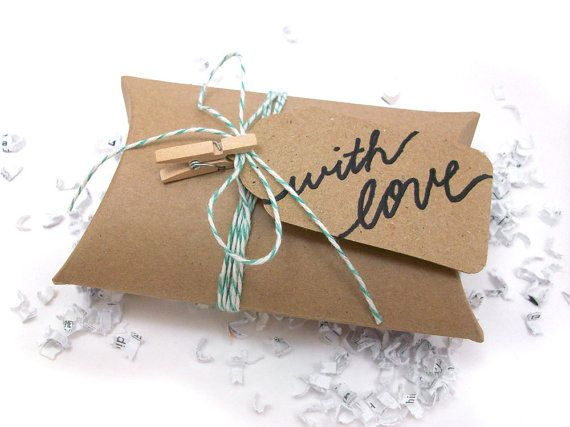 DIY Gift Wrap Kit - Kraft Pillow Box & Green Baker's Twine on Etsy ...